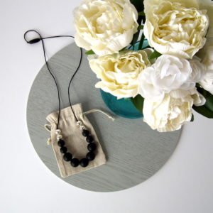 Bangalow Silicone Necklace - Black & Silver