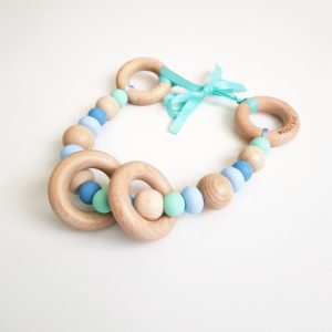 Pebble Rock Pram Garland - Pastel Blue, Mint, Powder Blue