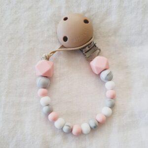Hex Marble Mix Dummy Chain - Rose Quartz Pink