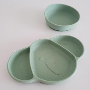 Silicone Suction Plate and Bowl - Sage