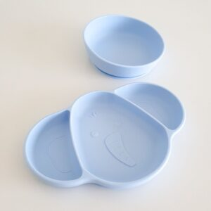 Silicone Suction Plate and Bowl - Blue