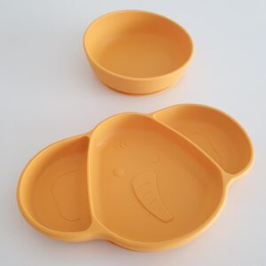 Silicone Suction Plate and Bowl - Mustard