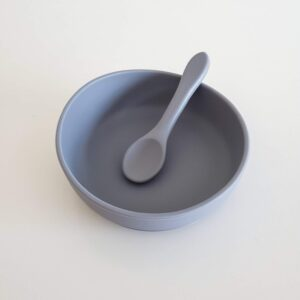 Silicone Suction Bowl and Spoon - Stone