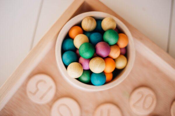 Coloured Wooden Balls - set of 50