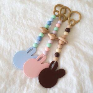 Silicone Bunny Pram Toys - Colours