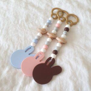Silicone Bunny Pram Toys - Marble