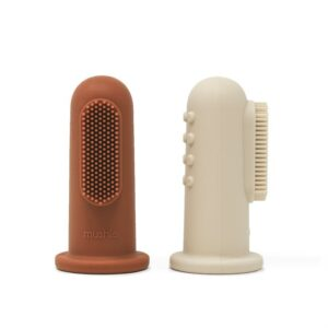 Mushie Finger Toothbrush - Clay/Sand